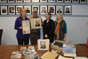 Heather Richardson, Executive Director of Arkansas State Board of Licensure for Professional Engineers and Surveyors, Jim Roy Warden-grandson of Roy E. Warden, Rachelle Stewart and Renee Carr who returned the pictures and memorabilia